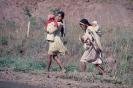 Índias caiagangue caminhando na estrada